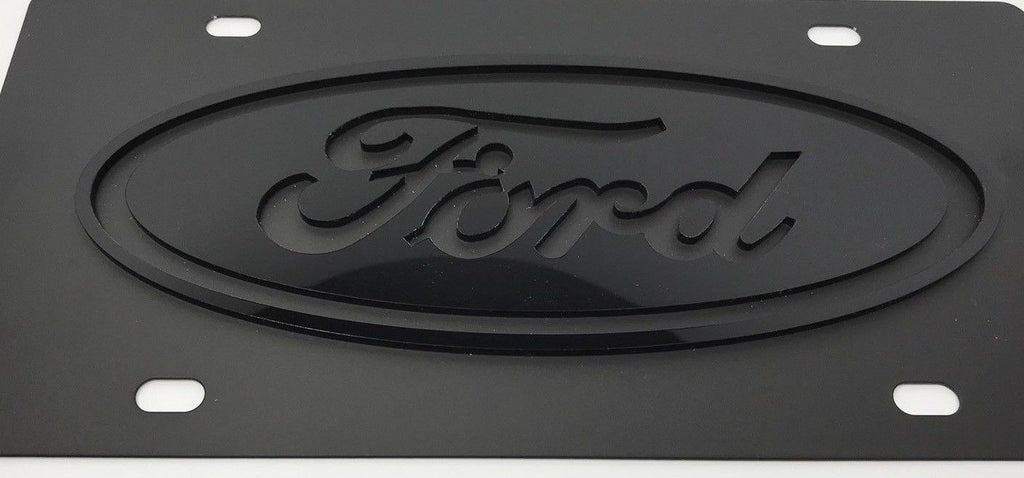Ford Stainless Steel License Plate - Black with Black Logo (Front)