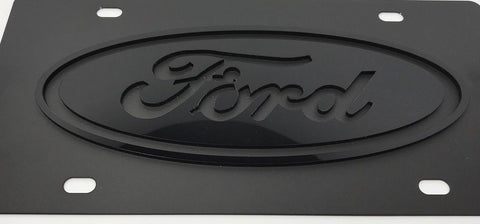Image of Ford Stainless Steel License Plate - Black with Black Logo (Front)