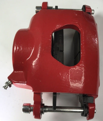 Image of Pair of GM Front Single Piston Brake Calipers with Pads - Red Powder Coated - Top