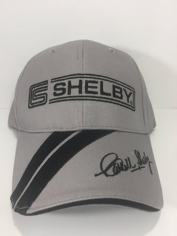 Shelby Hat - Grey with Stripe on Bill and Script Logo (Front)