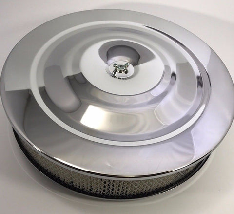 "14"" x 3"" Air Cleaner Assembly - 4 Barrel Chrome Top Flat Base  - Top"