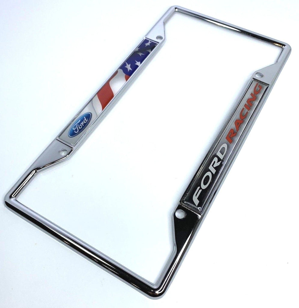 Ford Racing License Plate Frame - Chrome with American Flag (Main)