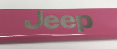 Jeep License Plate Frame - Pink with Logo Emblem (Emblem)
