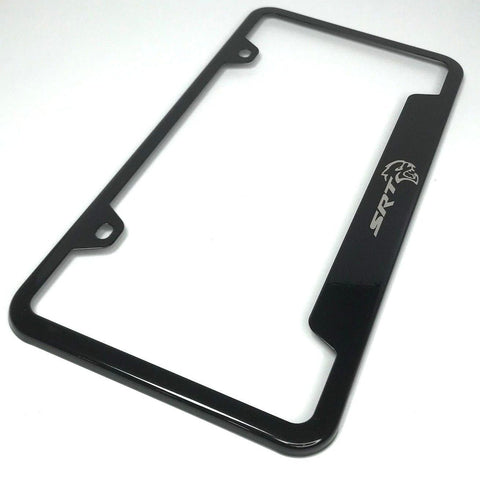 Image of Dodge SRT Hellcat License Plate Frame - Black with Logo (Top)