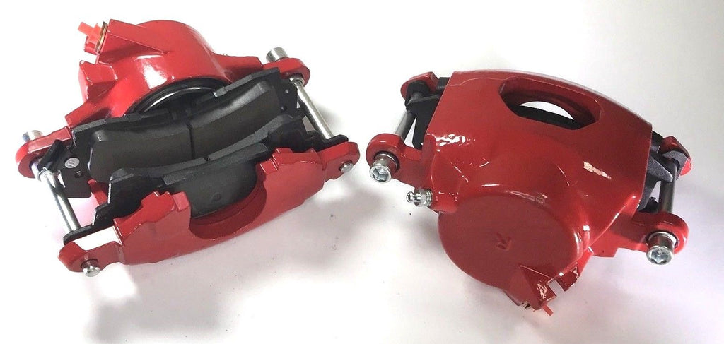 Pair of GM Front Single Piston Brake Calipers with Pads - Red Powder Coated - Pair
