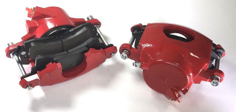 Image of Pair of GM Front Single Piston Brake Calipers with Pads - Red Powder Coated - Pair