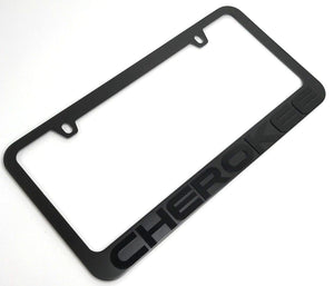 Jeep Cherokee License Plate Frame - Black with Black Script (Main)