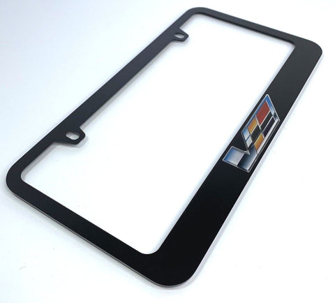 Cadillac V-Series License Plate Frame - Black with Chrome (Main)