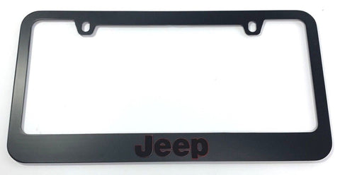 Jeep License Plate Frame - Black with Red Surround (Top)