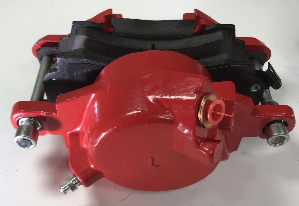 Pair of GM Front Single Piston Brake Calipers with Pads - Red Powder Coated - Side 2