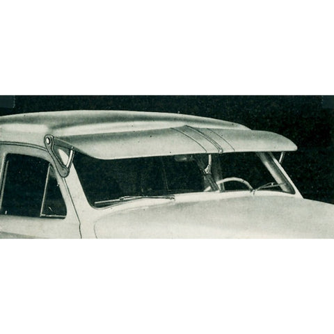 Image of Fulton Style Sun Visor Center Support Brackets - Polished Stainless Steel - Installed