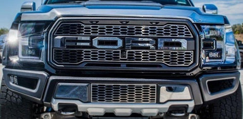 Image of 2017-2018 Ford Raptor Grille Letter Overlays - Brushed Stainless Steel - Front