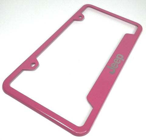 Jeep License Plate Frame - Pink with Logo Emblem (Main)