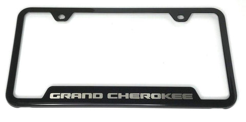 Image of Jeep Grand Cherokee License Plate Frame - Black with Logo (Main)