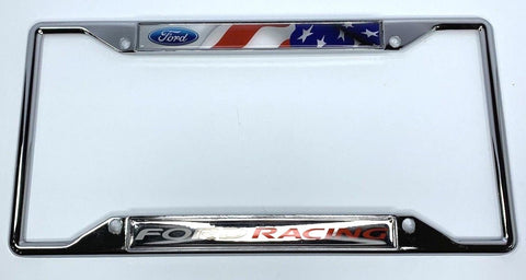Image of Ford Racing License Plate Frame - Chrome with American Flag (Front)