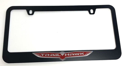 Image of Jeep Trail hawk License Plate Frame - Black with Chrome (Front)