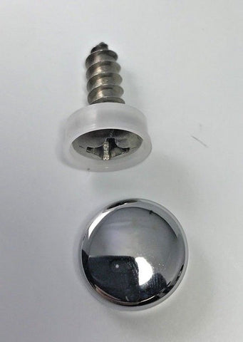 License Plate Frame Screws with Chrome Caps - Anti Theft (Single)