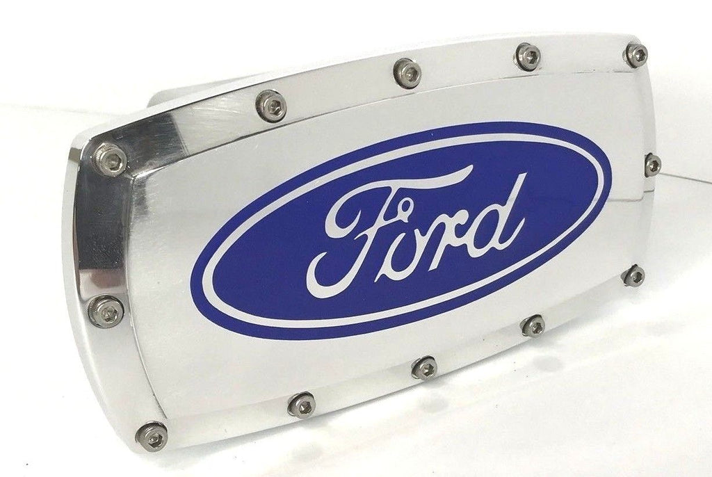 Ford Emblem Logo Hitch Cover - Polished Aluminum (Front)