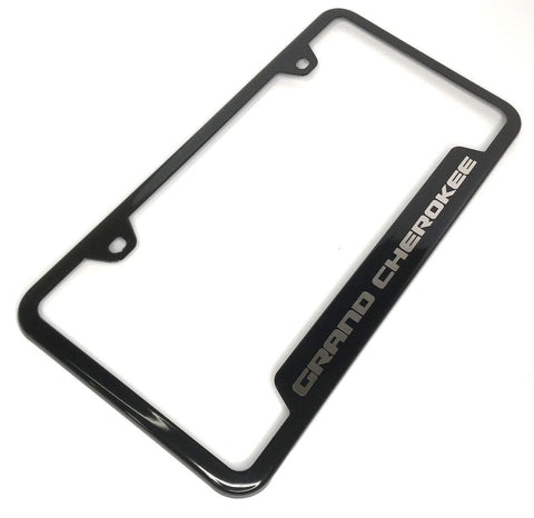 Jeep Grand Cherokee License Plate Frame - Black with Logo (Top)
