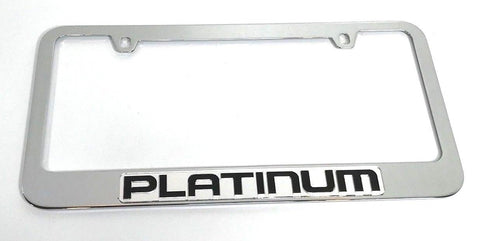 Image of Ford Platinum License Plate Frame - Chrome with Black Script (Top)