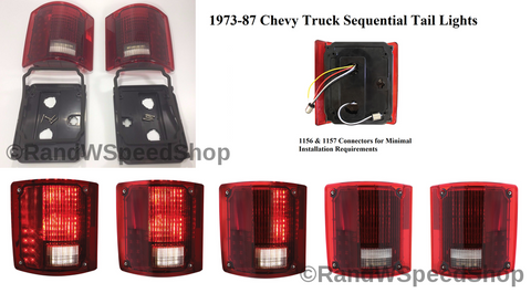 Image of Pair 1973-87 Chevy Truck Sequential LED Tail Lights - Main