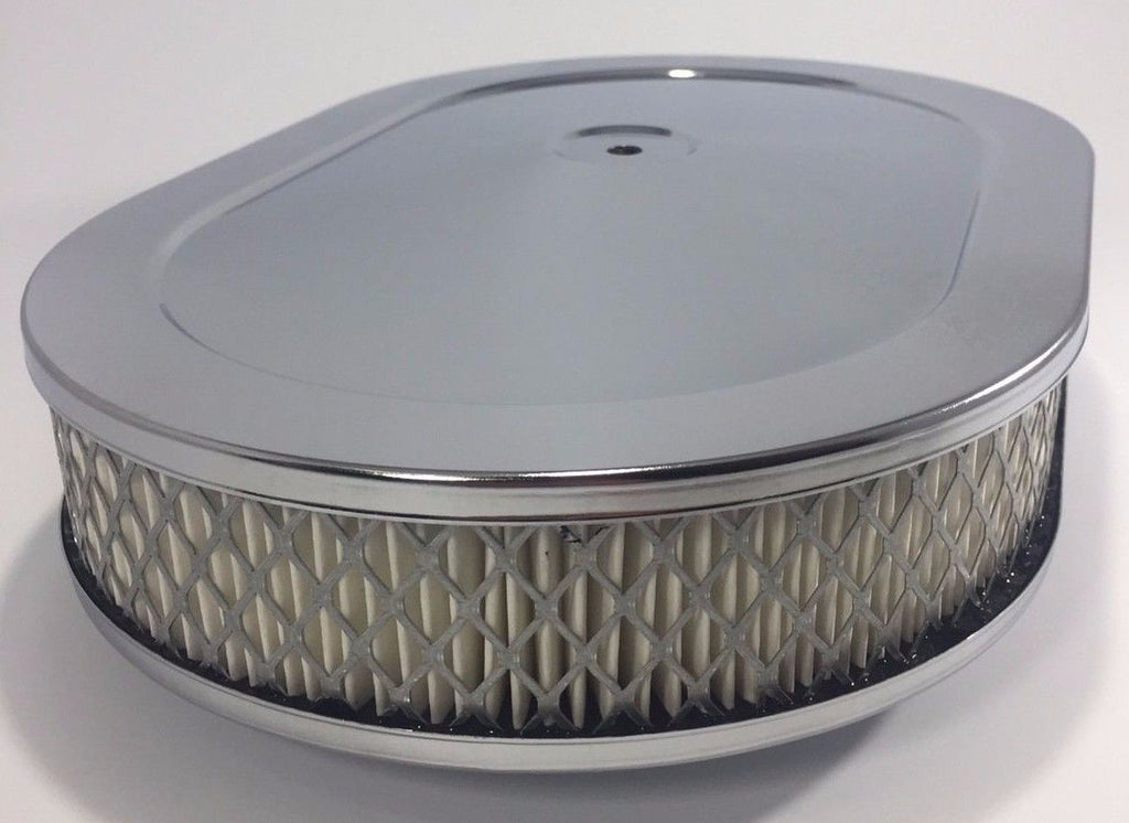 "4 Barrel Air Cleaner - Chrome 12"" x 2"" Oval with 5-1/8"" Neck - Front"