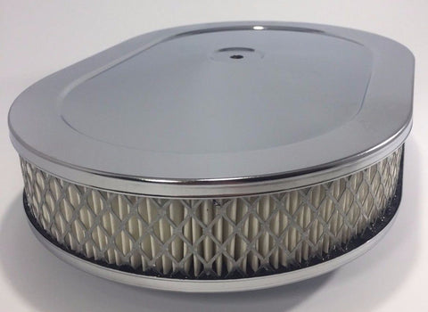 "Image of 4 Barrel Air Cleaner - Chrome 12"" x 2"" Oval with 5-1/8"" Neck - Front"