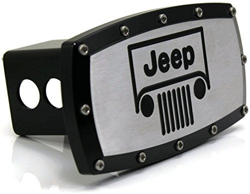 Jeep Grille Emblem Logo Hitch Cover - Black Aluminum (Front)