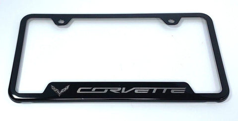 Chevrolet Corvette C7 License Plate Frame - Black with Logo (Front)