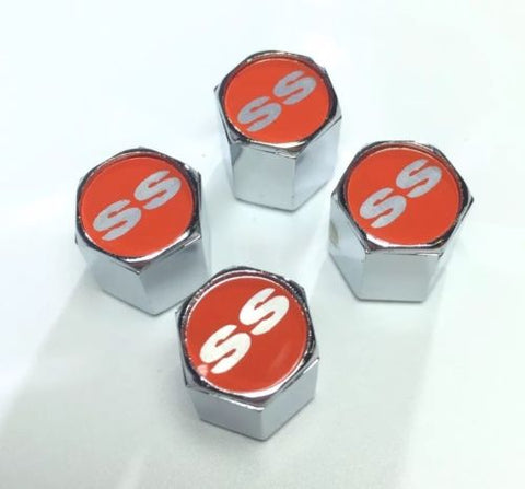 Chevy Super Sport Valve Stem Caps - Red with Silver (Set of 4) - Main