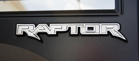 Image of 2017-2018 Ford Raptor Tailgate Emblem Overlays - Brushed Stainless Steel - Raptor