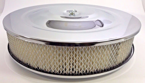 "14"" x 3"" Air Cleaner Assembly - 4 Barrel Chrome Top Flat Base - Main"
