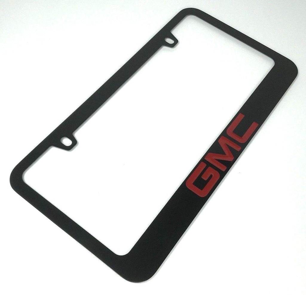 GMC License Plate Frame - Black with Red Letters (Main)