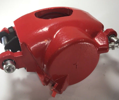 Image of Pair of GM Front Single Piston Brake Calipers with Pads - Red Powder Coated - Side