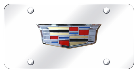 Cadillac License Plate - Chrome with Emblem (Front)