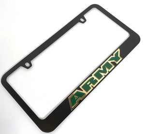 Army License Plate Frame - Black with Green Letters (Main)