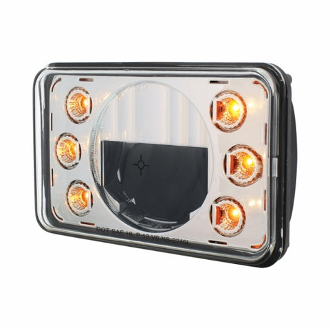 "Image of LED 4"" X 6"" Headlight w/ Dual Function 6 Amber LED Position Lights - Low Beam"