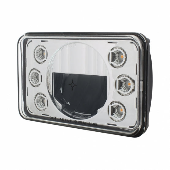 "LED 4"" X 6"" Headlight w/ Dual Function 6 Amber LED Position Lights - Low Beam"
