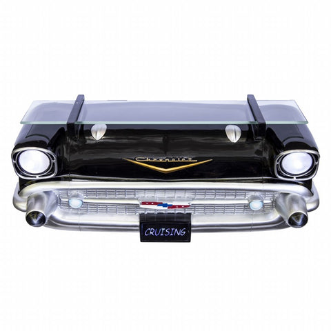 Image of 1957 Chevrolet Bel Air Wall Shelf - Classic Black w/ Glass - Main