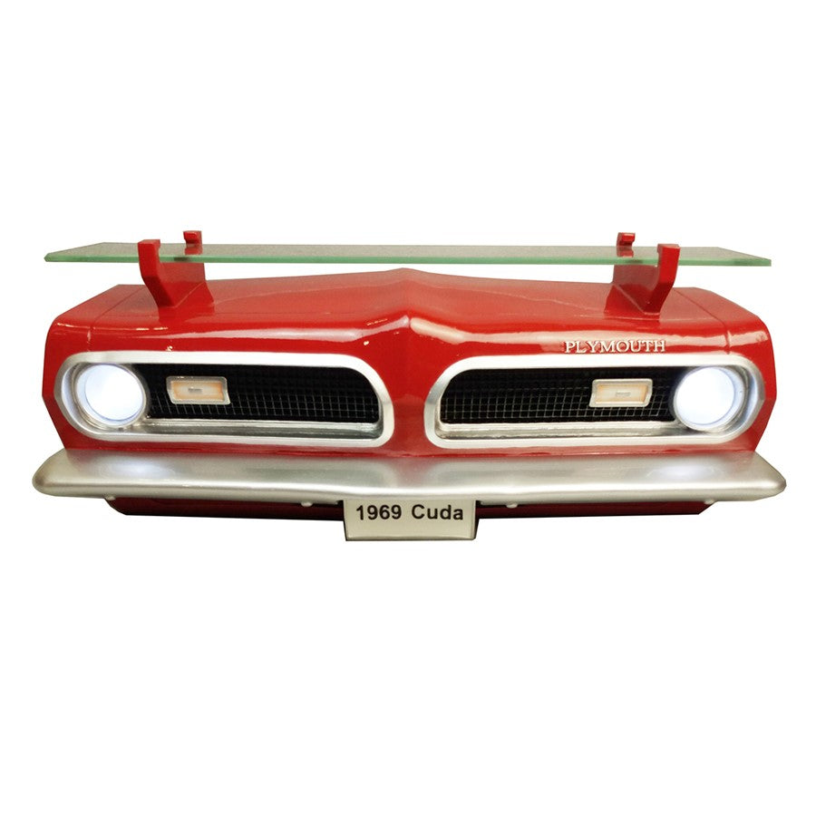 1969 Plymouth Barracuda Front Wall Shelf - Classic Red w/ LED Lights- Main