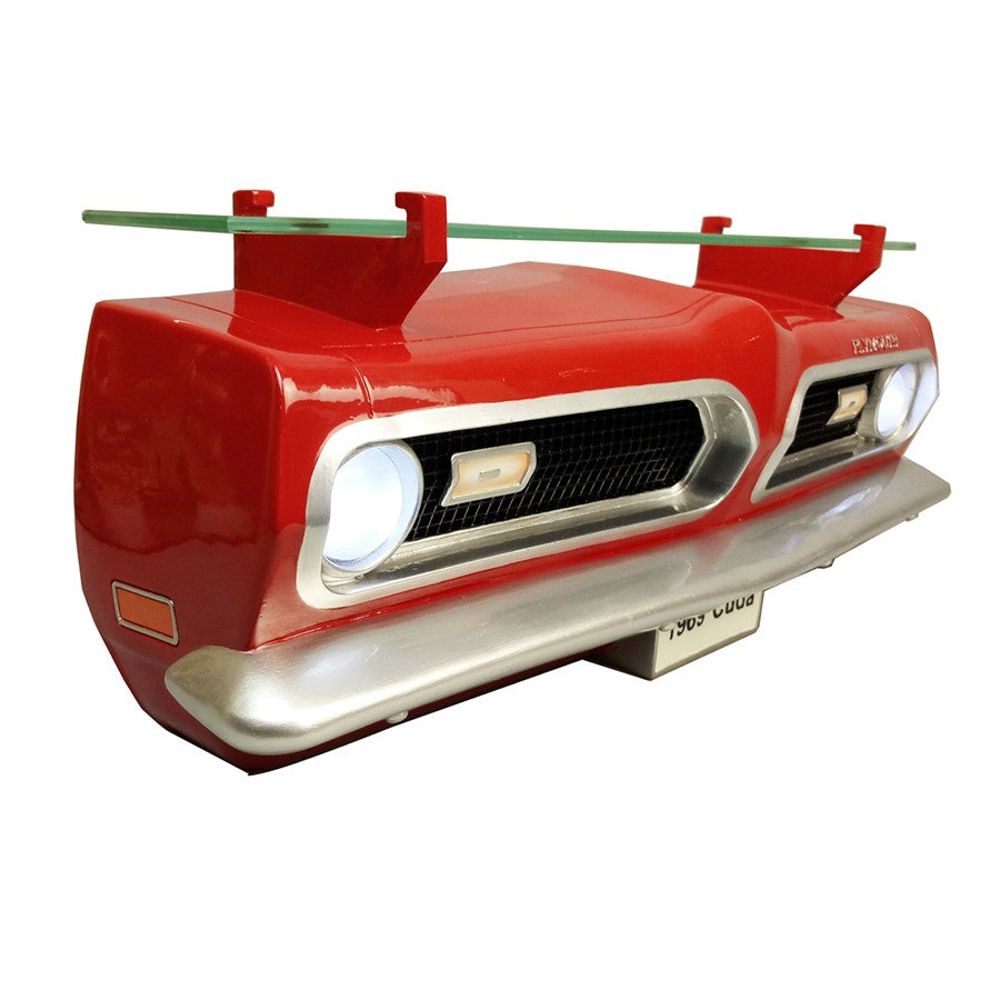 1969 Plymouth Barracuda Front Wall Shelf - Classic Red w/ LED Lights - Passenger