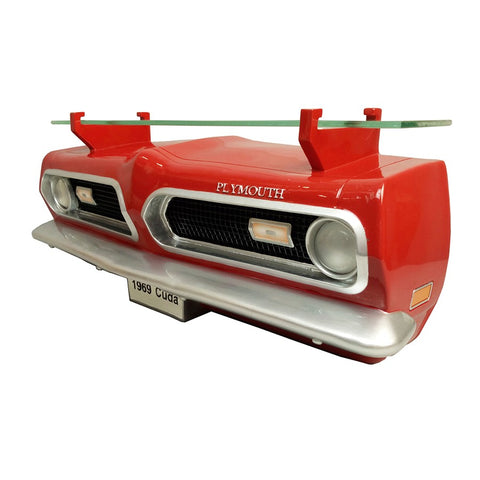 1969 Plymouth Barracuda Front Wall Shelf - Classic Red w/ LED Lights - Driver