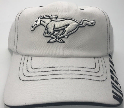 Ford Mustang White Grille Emblem Logo Hat with Script (Top)