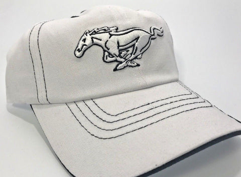 Ford Mustang White Grille Emblem Logo Hat with Script (Side)