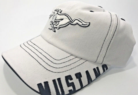 Image of Ford Mustang White Grille Emblem Logo Hat with Script (Front)