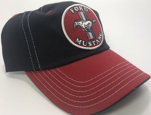 Ford Mustang Patch Hat - Red & Black with Logo (Front)