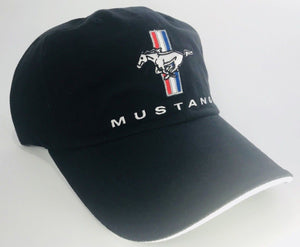 Black Ford Mustang Tri Bar Logo Emblem Hat with Script (Front)