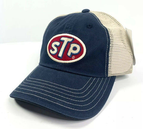 Image of STP Oil Mesh Trucker Hat Cap - Dark Blue / Khaki-Live Fast Supply Company