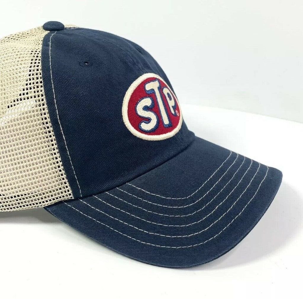 STP Oil Mesh Trucker Hat Cap - Dark Blue / Khaki-Live Fast Supply Company