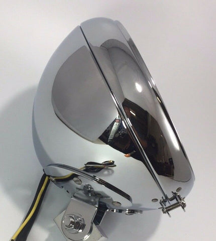 Chrome Motorcycle Headlight Bucket - Fits Harley Smooth - Side
